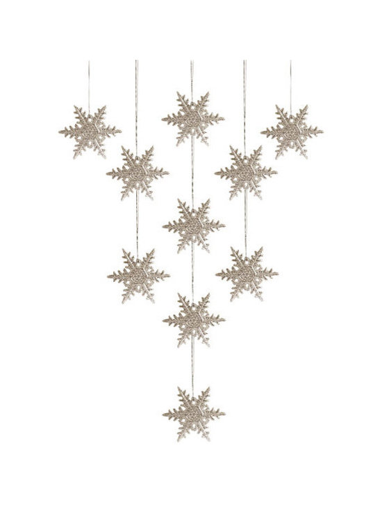 Ornaments, Snowflakes, Set of 10 -
