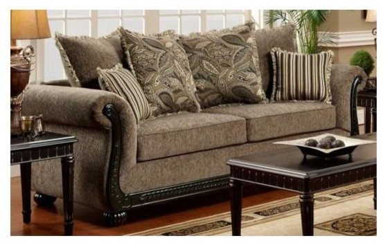 Lily Sofa in Dream Java Fabric - Traditional - Sofas - by ShopLadder