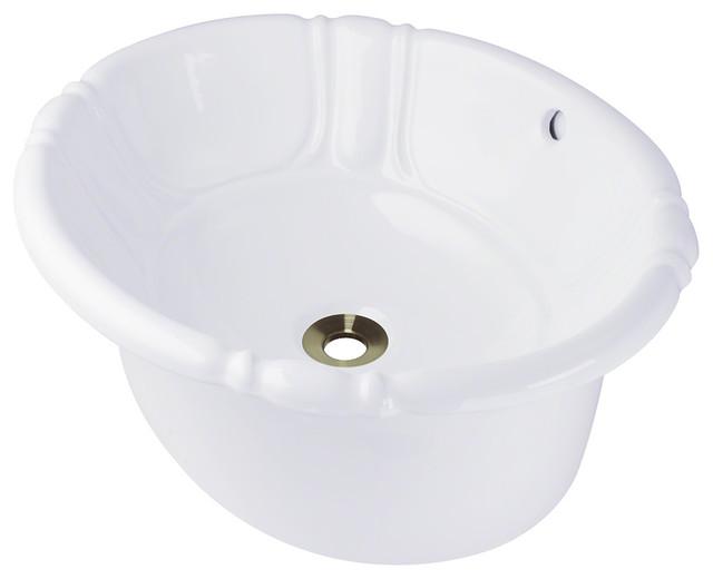 Drop In Vessel Sink : O1815-White Vessel or Drop-In Porcelain Bathroom Sink - Bathroom Sinks ...