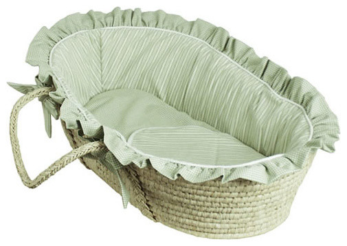 On Sale Sherbert Green Moses Basket with Matching Baby ...