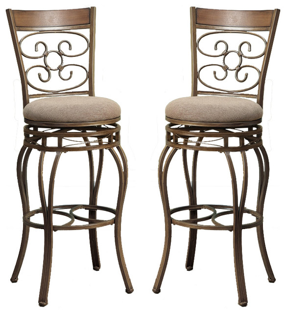 Set Of 2 Swivel Barstools Fabric Cushion Metal Frame Bar