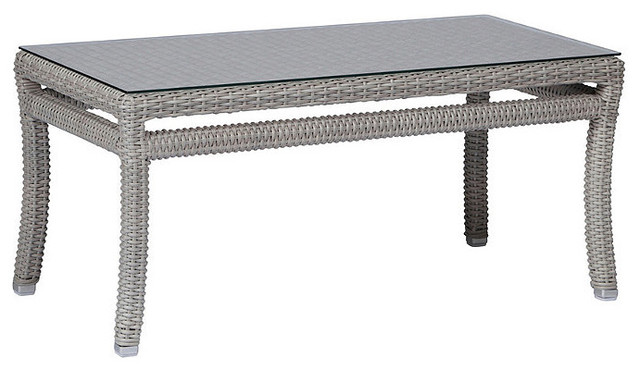 Club Woven Outdoor Coffee Table, Patio Furniture traditional-outdoor-coffee-tables