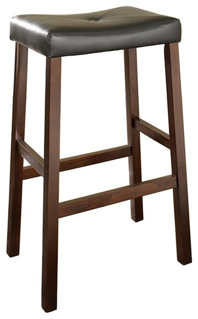 Upholstered 29 in. Saddle Seat Bar Stool - Set of 2 - CRY128 contemporary-bar-stools-and-counter-stools