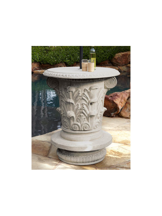 Horchow - Ornate Drink Stand - Give your outdoor living space a convenient spot to set drinks or snacks without compromising on style with this handcrafted stand featuring an ornate scrolled design. Also includes a door that opens to reveal shelves for discreet storage. Made of crus...