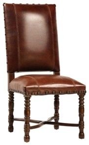 Brown Leather Dining Chair with Turned Wood Legs mediterranean-dining-chairs