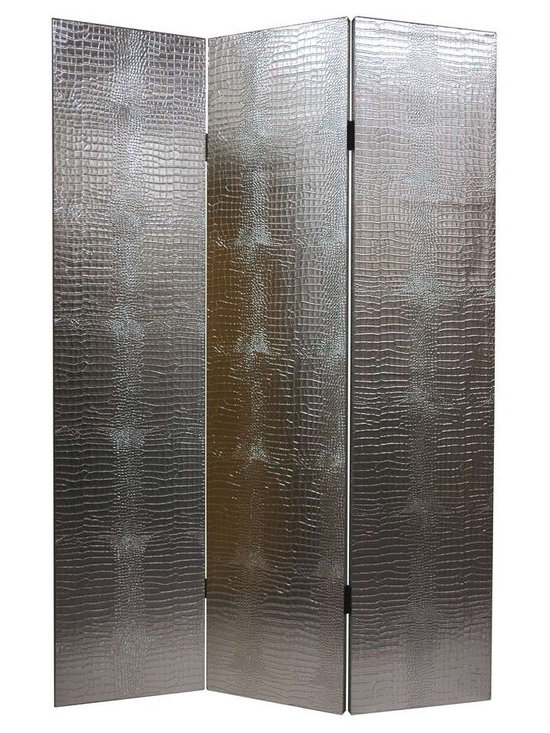 Silver-Tone & Faux Leather Crocodile Room Divider - 3 Panels -