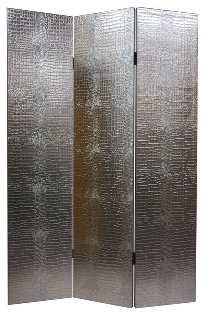 Silver-Tone & Faux Leather Crocodile Room Divider - 3 Panels eclectic-screens-and-room-dividers