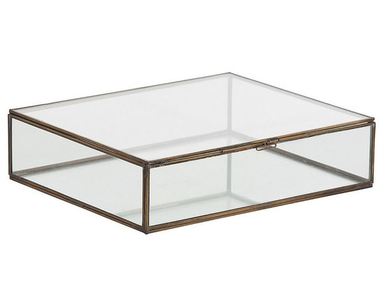 Arteriors Home - Fuller Document Box - Fuller rectangular glass display document box with Vintage Brass borders and hinges. 12 inch width x 3 inch height x 10 inch depth.