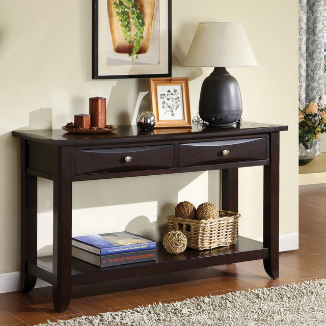 Sofa Table Ideas: Furniture Of America Buldgewin Espresso Two-drawer Sofa