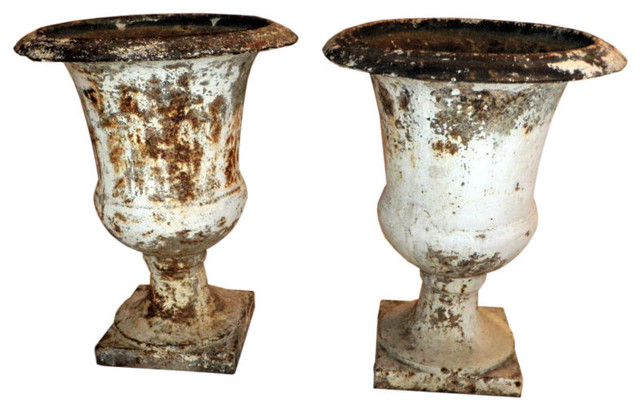 Pair of Directoire Painted Garden Urns traditional-outdoor-pots-and-planters