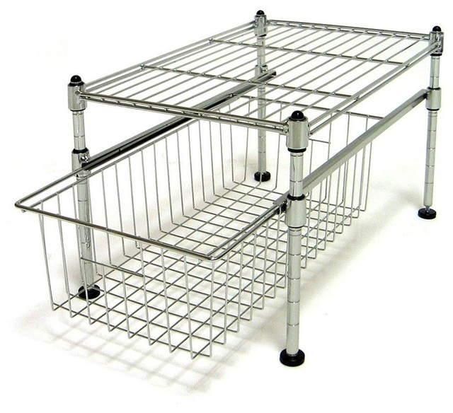 Seville Classics Single Basket Organizer, UltraZinc contemporary-cabinet-and-drawer-organizers