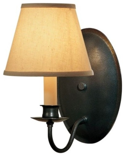 Single Light On Oval Back Wall Sconce With Shade by Hubbardton Forge contemporary-wall-lighting
