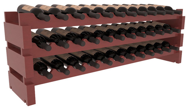 36 Bottle Scalloped Wine Rack in Pine with Cherry Stain + Satin Finish contemporary-wine-racks
