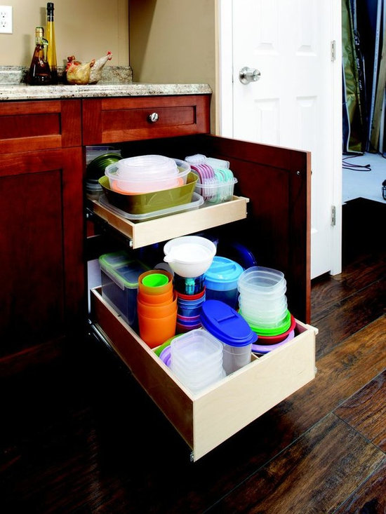 Pull Out Shelves with Dividers - Pull out shelves with dividers create even more organization when storing items separately from lids or other items.