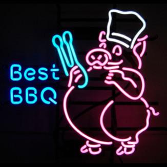 Best BBQ Pig 24 x 24 Neon Sign modern-home-decor