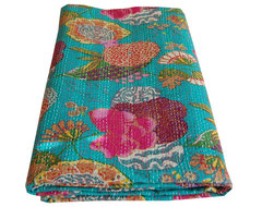 Indian Kantha Printed Throw asian-quilts