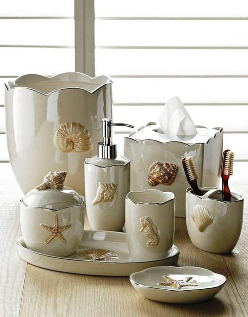 Mare shells porcelain bath accessories in pearl from for Alinea salle de bain accessoires