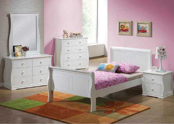 Acme Furniture Nebo White Wave Shaped Youth 5 Piece Twin