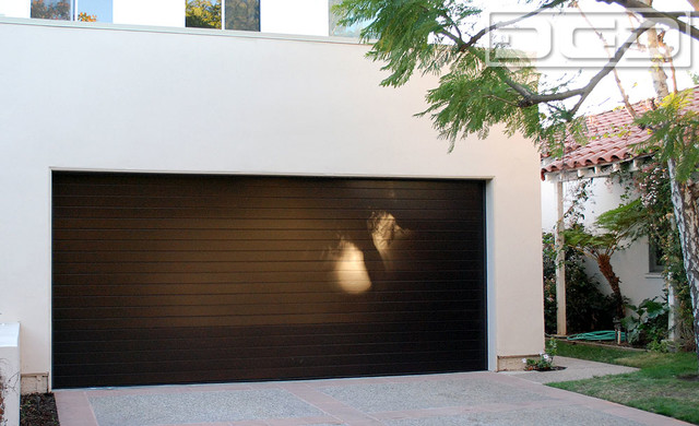 Los Angeles Custom Modern Garage Doors & Matching Entry Door System Project - Contemporary ...