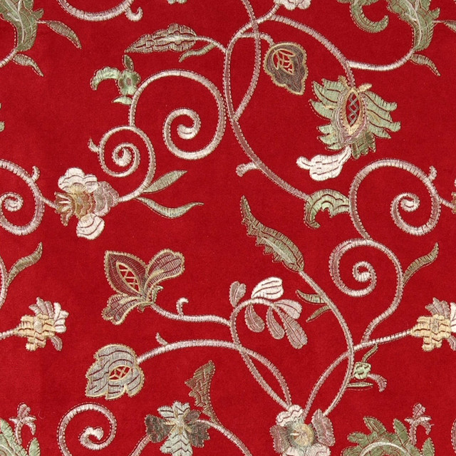 Red green and ivory embroidered floral vines suede