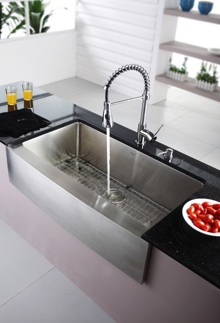 Kraus KHF200-36-KPF1612-KSD30CH  Farmhouse Sink With Faucet & Soap Dispenser modern kitchen sinks