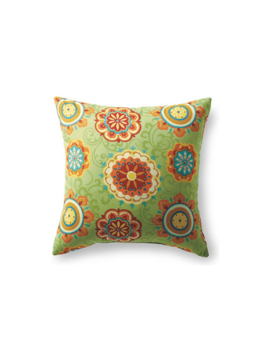 "Grandin Road - Suzani Outdoor Pillow - Suzani White, 16"" x 16"" - Outdoor pillow designed to live beautifully in the elements. Each is covered in all-weather, water-repellant, chlorine- and stain-resistant upholstery, so colors stay vibrant all season long. Stuffed with quick-drying, 100% polyester fill. Printed fabrics are woven from spun polyester. Coordinates perfectly with our outdoor replacement cushion program. Freshen up your outdoor furniture in an instant with our all-weather designer outdoor pillow. Each is upholstered in highly durable, quick-drying, all-weather fabric that repels water, resists chlorine, soil and stains. Like our outdoor cushions, each one is made in America, so you can pick your favorite patterns and pile them on with pride.  .  .  .  .  ."
