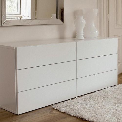 Aurora 6 Drawer White Dresser modern-dressers