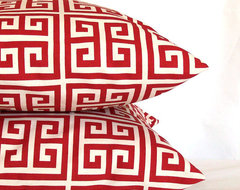 Red Pillow Covers, Red Greek Key by Pure Home Accents contemporary-decorative-pillows