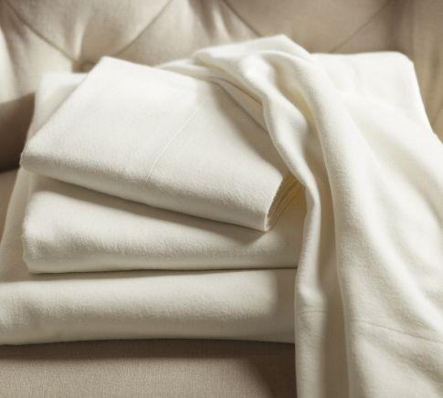 PB Organic Flannel Sheet Set, Ivory traditional-sheets