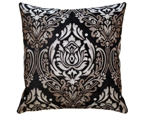 Pillow Decor - Pillow Decor - Palazzo Black Throw Pillow - This stunning pillow is elegant and luxurious. The jacquard weave combines a rich, soft black chenille in the background, with a classic combination of taupe, cream and beige in the damask pattern. This pillow will bring an air of palatial sophistication to your home.