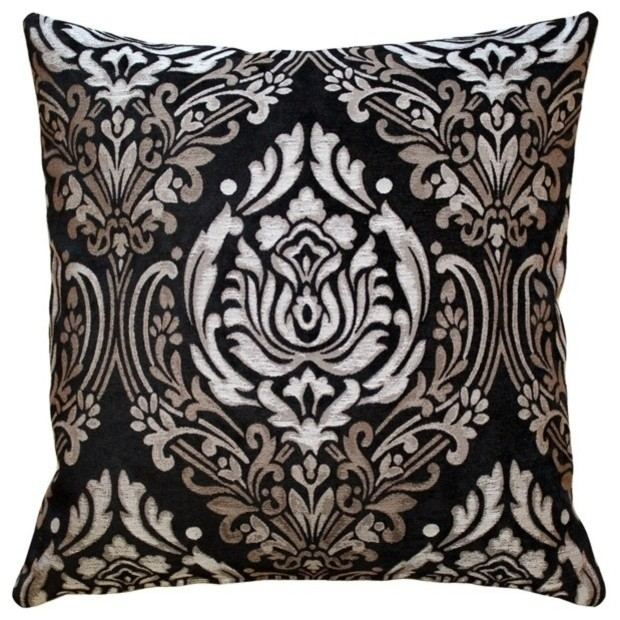 Pillow Decor - Palazzo Black Throw Pillow traditional-decorative-pillows