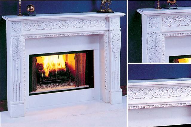 Versailles Marble Fireplace Mantel midcentury-indoor-fireplaces