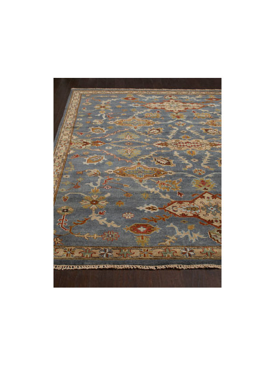"Horchow - ""Umari"" Rug - A lively mix of traditional motifs and patterns combines with narrow borders to give this rug transitional yet timeless appeal. Hand-knotted wool pile. Sizes are approximate. Imported. See our Rug Guide for tips on how to measure for a rug, choo..."