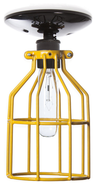 Extra Yellow Wire Ceiling Light : Industrial ceiling mount light yellow wire cage lighting
