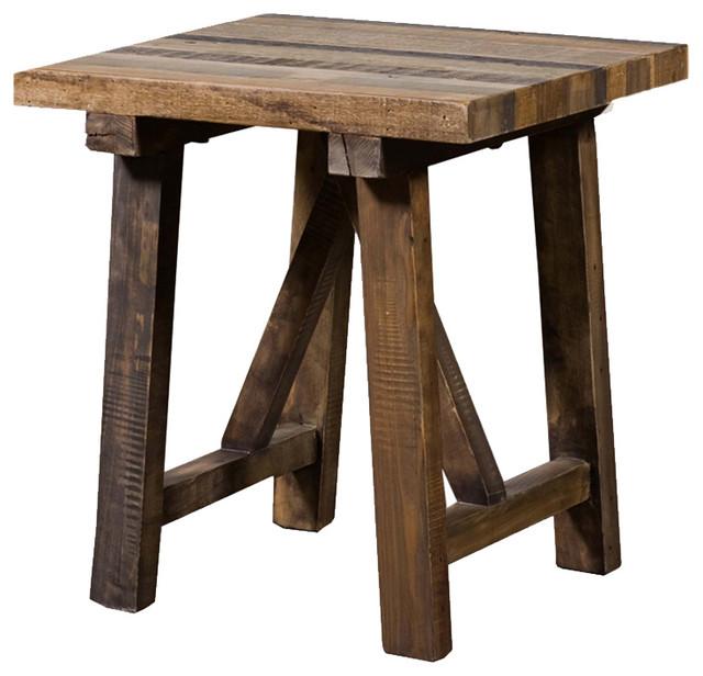 Industriel reclaimed pine end table - Table bar industriel ...