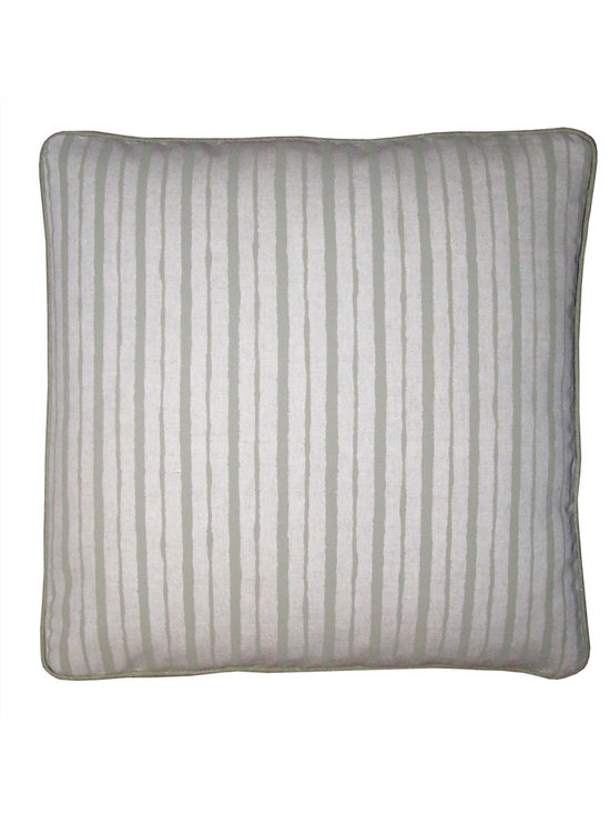 Boussac Stripe Fabric Pillow Covers - High-end Custom and Ready made pillows available on-line. A Beautiful Boussac of France Designer Linen Print Stripe of Bamboo Green and a Natural Oatmeal Color Has Been Used for the Face of these Artisanaworks Decorative Pillow Covers.  Backs are in Solid Color Bamboo Green.  See Companion Pillows.  Couture Custom Workroom Services Available. Artisanaworks