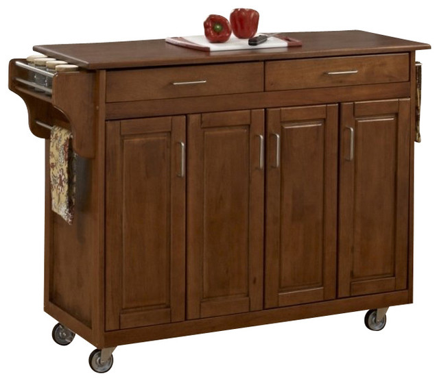 Home Styles Create a Cart in Warm Oak Finish with Oak Top Transitional Ki