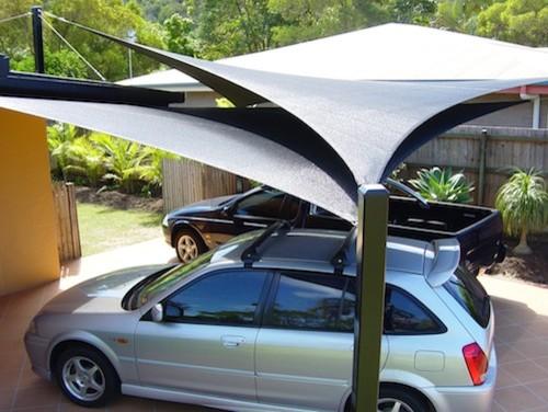 carport shade sails bauhaus look markisen. Black Bedroom Furniture Sets. Home Design Ideas