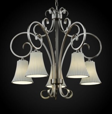 Justice Design Group Limoges POR-8575-20-PLET-NCKL Victoria 5-Downlight Chandeli modern chandeliers