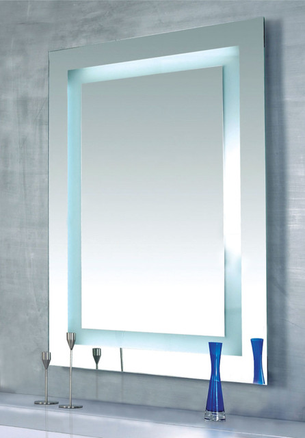 dimmable lighted mirror by edge lighting contemporary bathroom mirrors