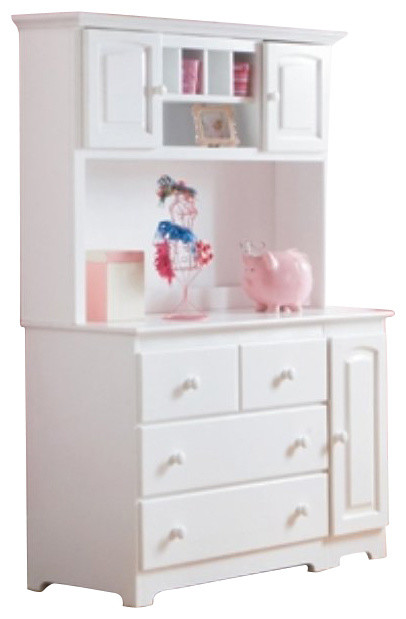 Atlantic Furniture Windsor Changing Table and Hutch in White transitional-changing-tables