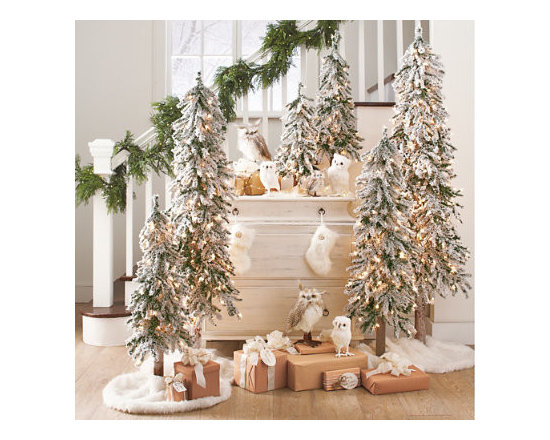 """Grandin Road - Alpine and Owl Scene - 2 Cordless Soft Pine Garlands. 1 Set of Two 7"""" Snowy Owls. 1 Set of Two 10"""" Snowy Owls. 1 Set of Two 6"""" Long-eared Owls. 1 Set of Two 12"""" Long-eared Owls. This year, consider an entire forest of trees, rather than one larger tree. Or create a second display! Our enchanting Alpine and Owl Scene creates a beautiful departure from traditional holiday decorations—it's a seasonal tableau you can enjoy all winter long. Lifelike owls earn second looks, and add to the woodsy theme. This kit includes:  . 1 Set of Two 7' Snowy Owls . 1 Set of Two 10' Snowy Owls . 1 Set of Two 6' Long-eared Owls . 1 Set of Two 12' Long-eared Owls . 1 2ʹ Pre-Lit Alpine Tree . 1 3ʹ Pre-Lit Alpine Tree . 1 4ʹ Pre-Lit Alpine Tree . 1 5ʹ Pre-Lit Alpine Tree . 1 6ʹ Pre-Lit Alpine Tree . 2 Faux-Mink Mini Stockings . 2 Small Faux Fur Tree Collars . 3 Large Faux Fur Tree Collars ."""