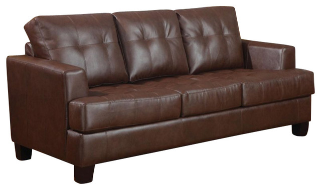 Coaster samuel leather sleeper sofa in dark brown for Coaster transitional styled sectional sofa sleeper in brown