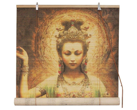 Oriental Furniture - Kwan Yin with Lotus Bamboo Blinds - (36 in. x 72 in.) - This all natural bamboo matchstick blind features a stunning, high resolution portrait of Kwan Yin, the bodhisattva of compassion. A beloved figure in East Asian Buddhism, this Kwan Yin blind makes a beautiful and meaningful window display.