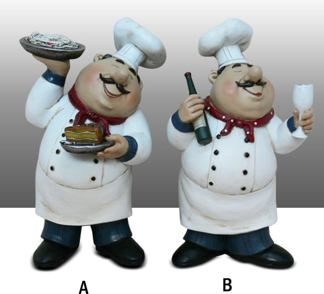 Fat Chef Kitchen Decoration Set Table Art Statue Bistro