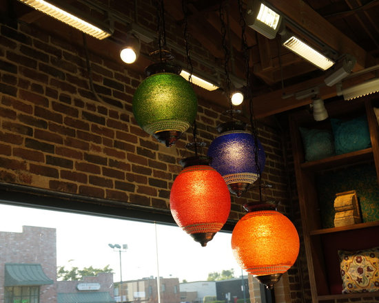 Cluster of colorful glass beaded lanterns - Cluster of Colorful glass beaded lanterns.