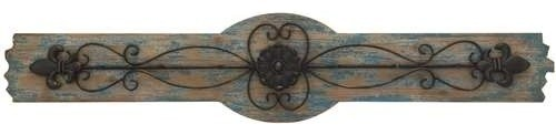 Beautifully Curved Metal Wall Hooks of Six Attached on MDF Wooden Wall Plaque transitional-wall-hooks