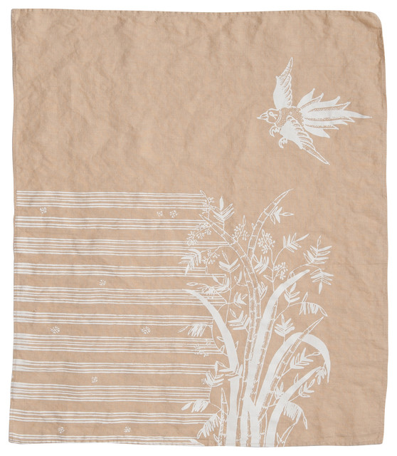 Indochine Friendship Hand Towel, Wheat/White contemporary-dish-towels
