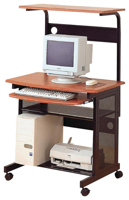 Coaster Desks Casual Computer Unit with Storage and Casters transitional-desks-and-hutches