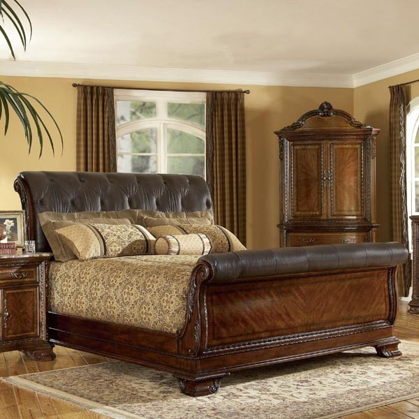 Art furniture old world leather king sleigh bed in warm for Transitional bedroom furniture